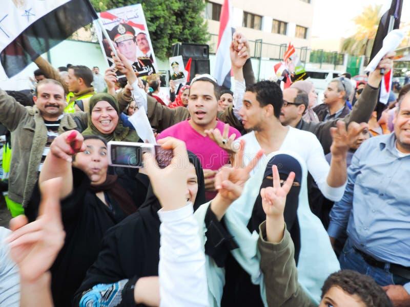 Les personnes égyptiennes aiment le Général Sisi photographie stock libre de droits
