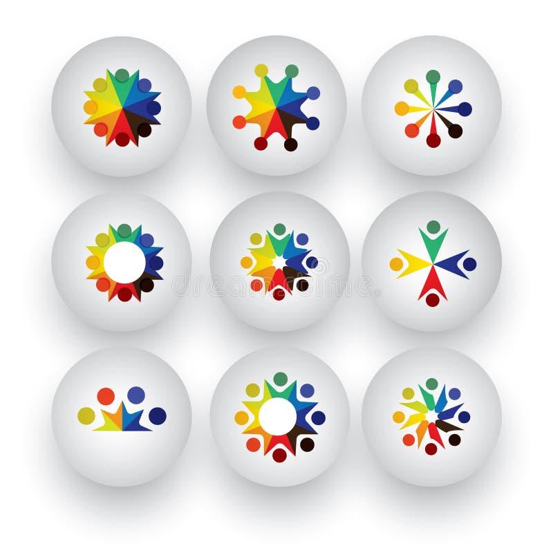 Les personnes colorées, enfants, collection d'icônes des employés ont placé - le vect illustration stock