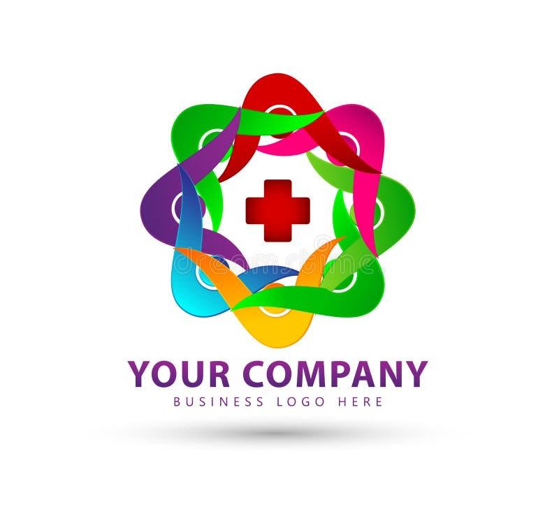 Les personnes colorées groupent la nouvelle icône à la mode d'équipe, logo illustration stock