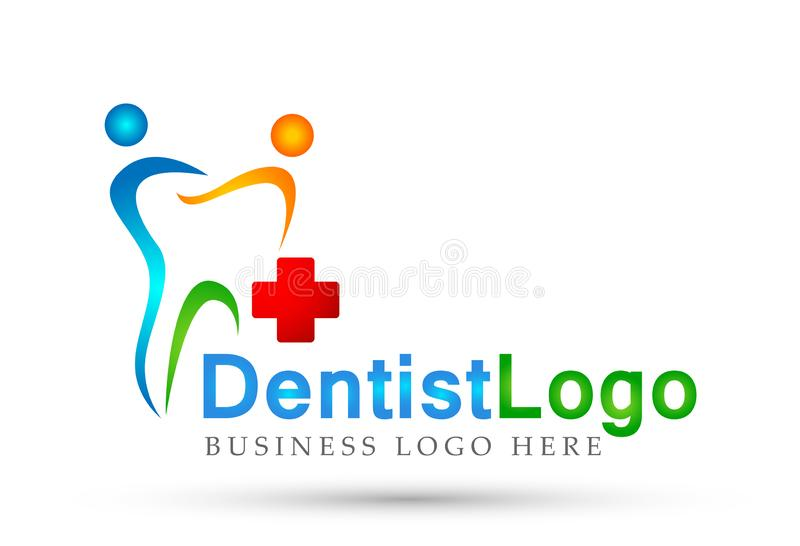 Les personnes croisées de dentiste dentaire de clinique s'inquiètent l'icône médicale de conception de logo de soins de santé sur illustration stock