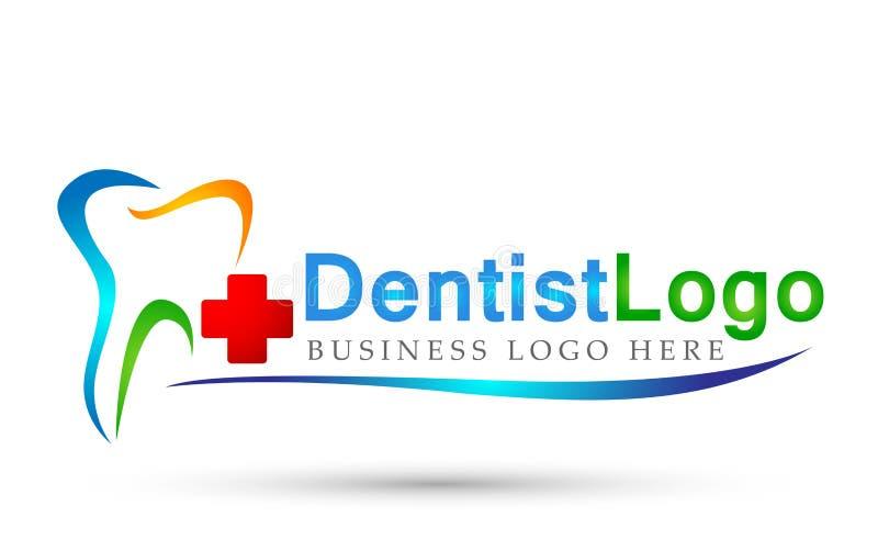 Les personnes croisées de dentiste dentaire de clinique s'inquiètent l'icône médicale de conception de logo de soins de santé sur illustration libre de droits