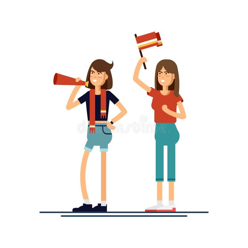 Les personnes de composition avec des drapeaux composent l'illustration de vecteur illustration stock