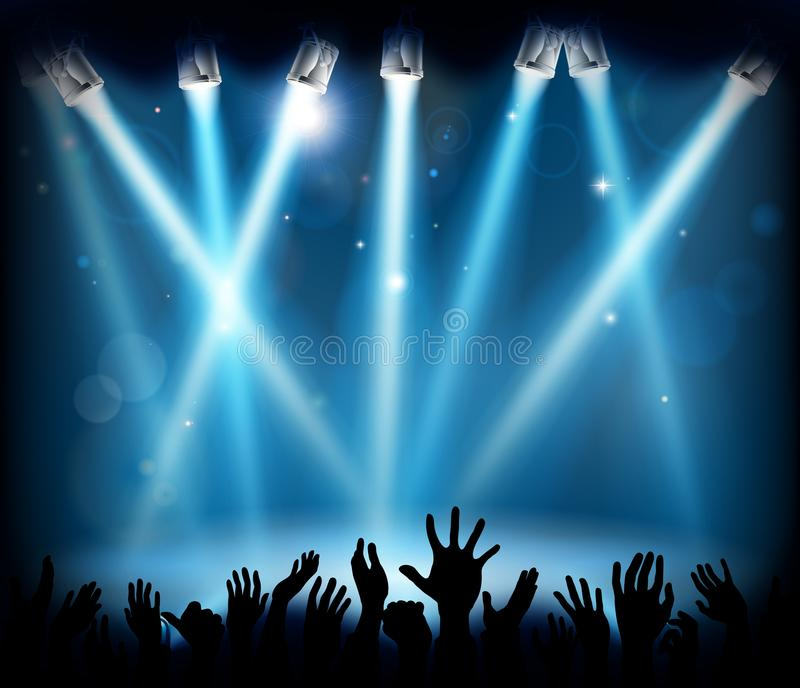 Les personnes de concert de foule de partie d'étape remettent la silhouette illustration de vecteur