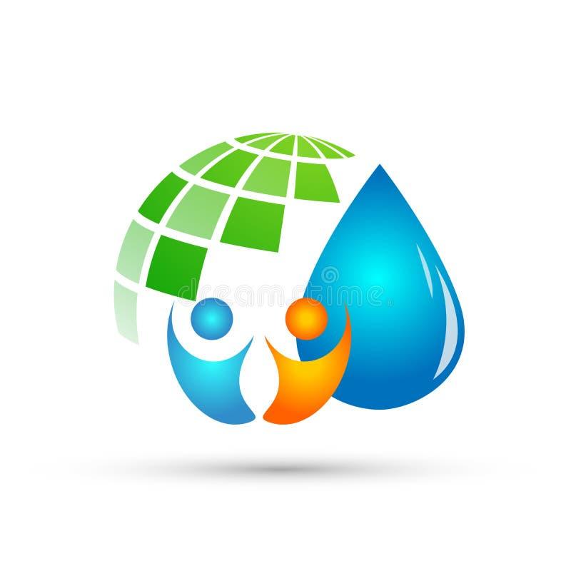 Les personnes de globe arrosent le symbole de nature de ressort de plante aquatique d'économies de logo de baisse les éléments qu illustration libre de droits