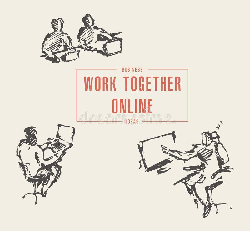 Les personnes de groupe travaillent ensemble le vecto en ligne d'ordinateur portable illustration de vecteur