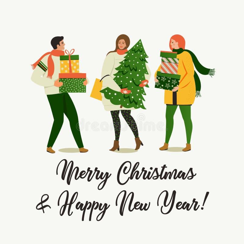 Les personnes de Noël et de bonne année se préparent aux vacances illustration stock