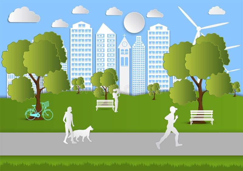 Les personnes de papier d'art marchant dans la ville se garent, idée d'écologie Fond d'illustration de vecteur