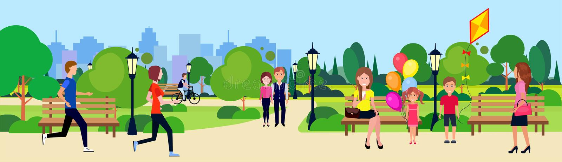Les personnes de parc public détendent les arbres verts courants de recyclage dehors de marche en bois se reposants de pelouse de illustration de vecteur