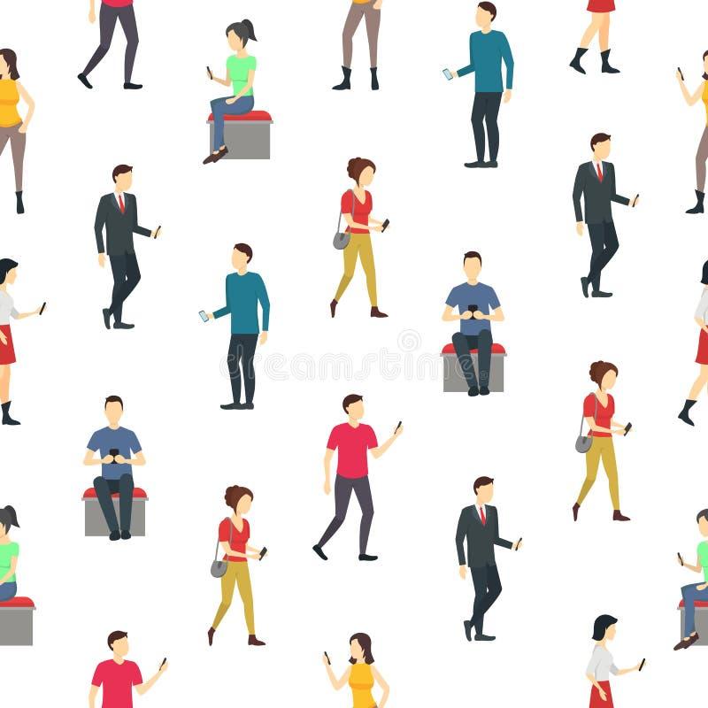 Les personnes de personnages de dessin animé observent le fond sans couture de modèle de téléphones portables Vecteur illustration de vecteur
