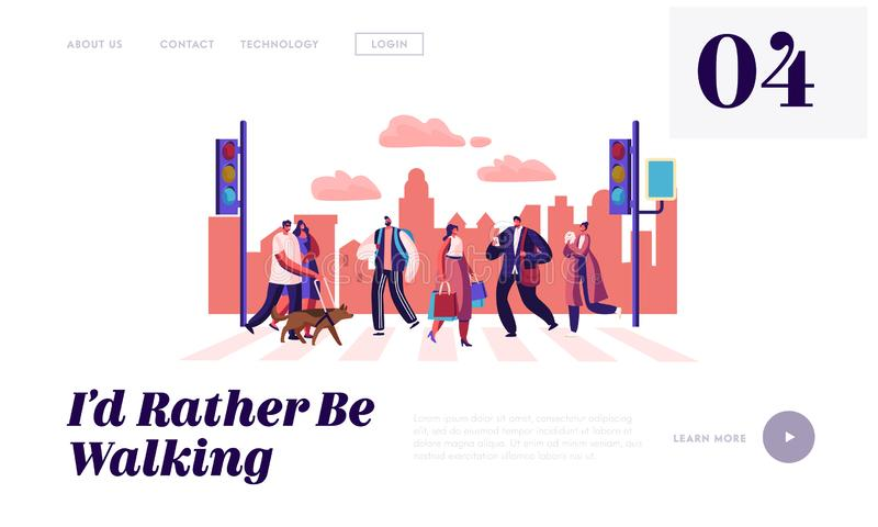 Les personnes de piétons marchant sur des caractères de page, d'hommes et de femmes d'atterrissage de site Web de rue de ville se illustration de vecteur