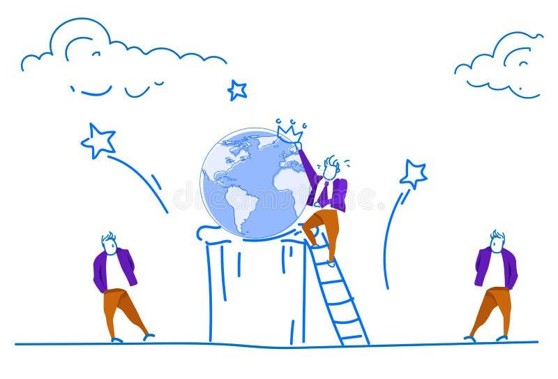 Les personnes de port s'élevantes de couronne de globe de carte du monde d'échelle d'homme d'affaires préparent des économies de  illustration libre de droits