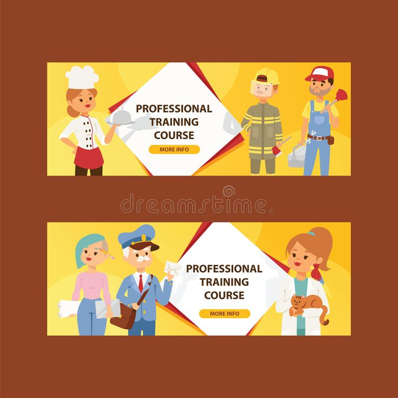 Les personnes de profession dirigent le caractère de femme d'homme du sapeur-pompier de contexte d'illustration de chef de profes illustration stock