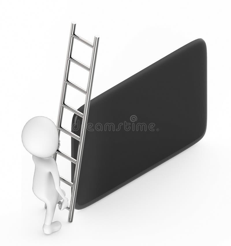 les personnes de race blanche 3d s'élèvent avec l'aide d'une échelle vers une forme rectangulaire bordée ronde illustration stock