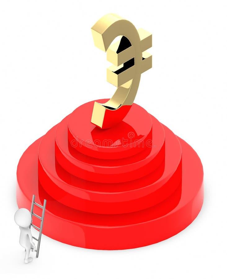 les personnes de race blanche 3d s'élèvent avec l'aide d'une échelle vers un podium, au sommet de lui qu'un euro signe d'or est p illustration stock
