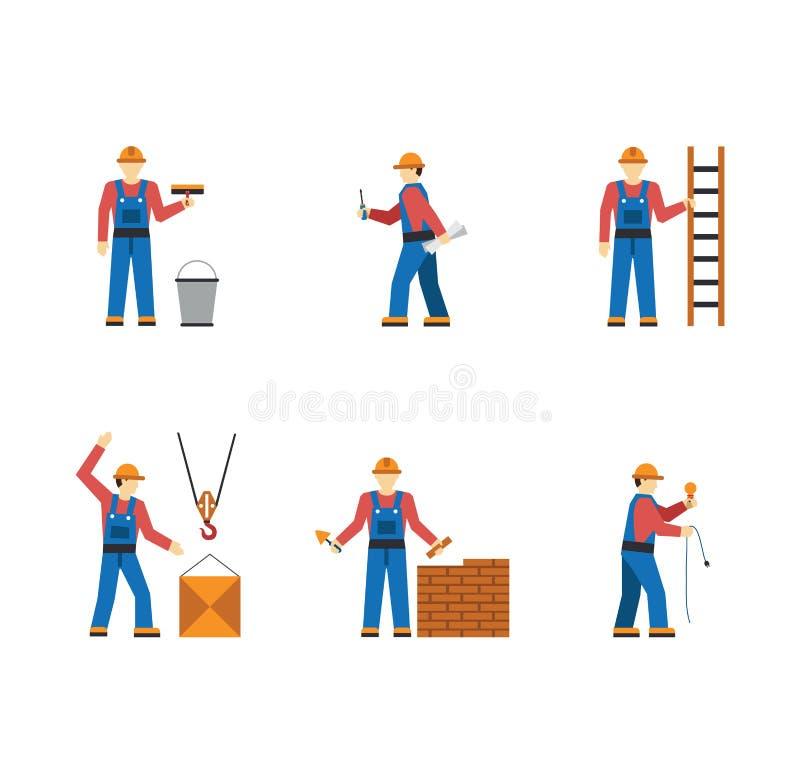 Les personnes de travailleur de la construction silhouettent des icônes à plat illustration stock