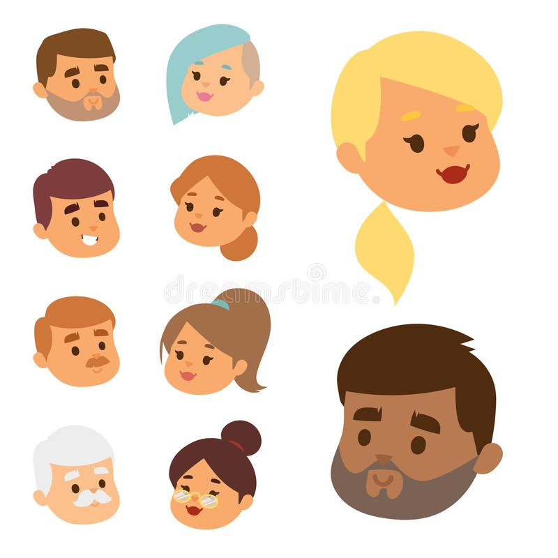 Les personnes de vecteur d'Eemotion font face à l'illustration d'avatar d'émotions de bande dessinée L'emoji de femme et d'homme  illustration stock