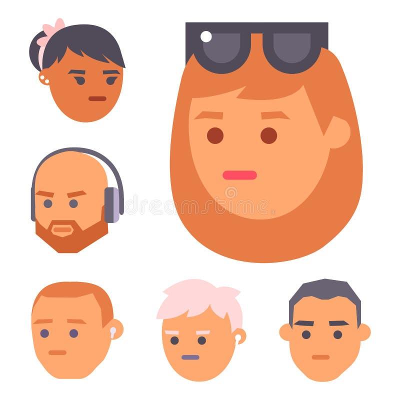 Les personnes de vecteur d'Eemotion font face à l'illustration d'avatar d'émotions de bande dessinée L'emoji de femme et d'homme  illustration de vecteur