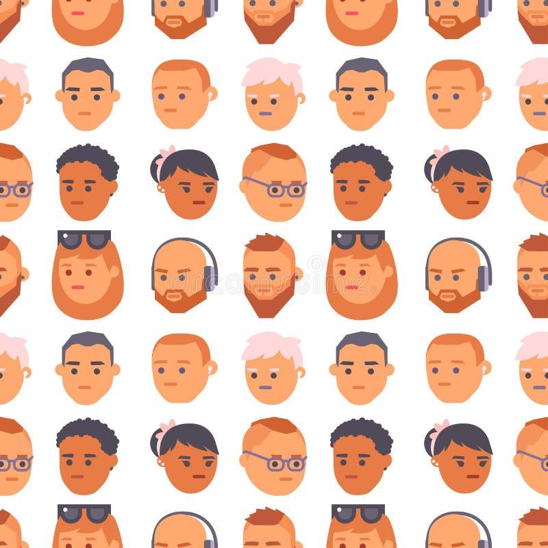Les personnes de vecteur d'Eemotion font face à l'illustration d'avatar d'émotions de bande dessinée L'emoji de femme et d'homme  illustration libre de droits