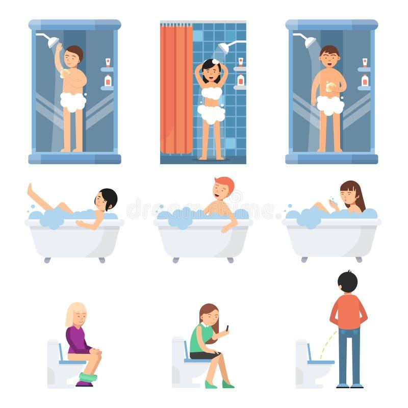 Les personnes drôles différentes prennent une douche dans la salle de bains Photos de vecteur dans le style plat illustration de vecteur