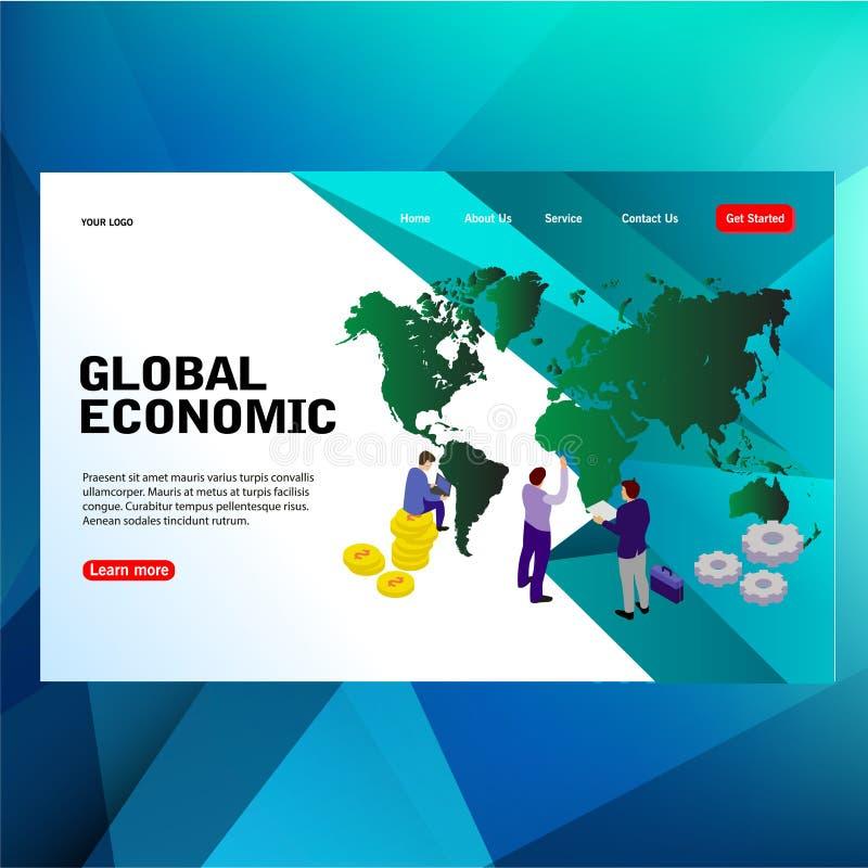 Les personnes futuristes modernes de concept de calibre, grande carte avec le concept économique d'illustration de vecteur de mot illustration stock