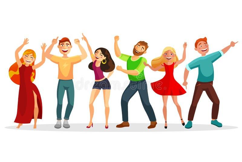 Les personnes heureuses dansant dans diverses poses dirigent l'illustration plate Hommes et femmes dansant ensemble d'isolement s illustration stock