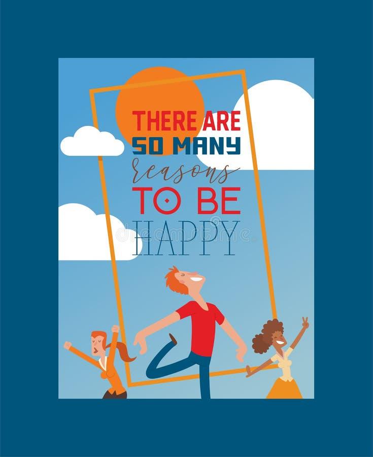 Les personnes heureuses dirigent le caractère sautant de femme ou d'homme dans l'activité du contexte d'illustration de bonheur e illustration de vecteur