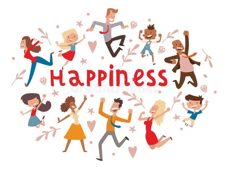 Les personnes heureuses dirigent le caractère sautant de femme ou d'homme dans l'activité du contexte d'illustration de bonheur e illustration libre de droits