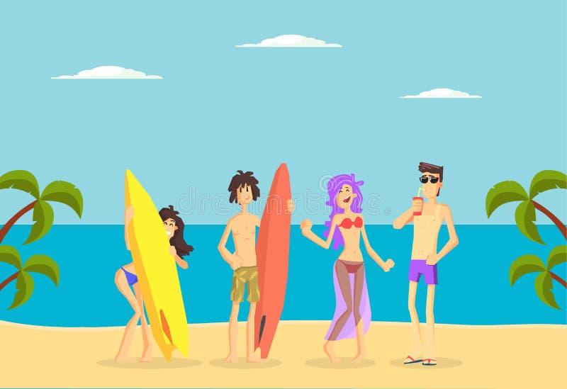 Les personnes heureuses se tenant avec des planches de surf sur la plage, les jeunes hommes et les filles tropicaux des vacances  illustration libre de droits