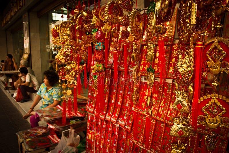 Les personnes locales apprécient la nouvelle année chinoise dans Chinatown, Bangkok, T photos stock