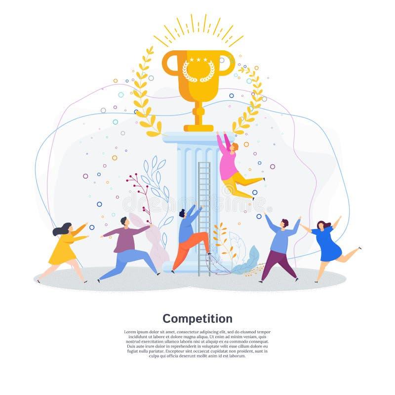 Les personnes minuscules courent une course pour la tasse d'or du gagnant illustration stock