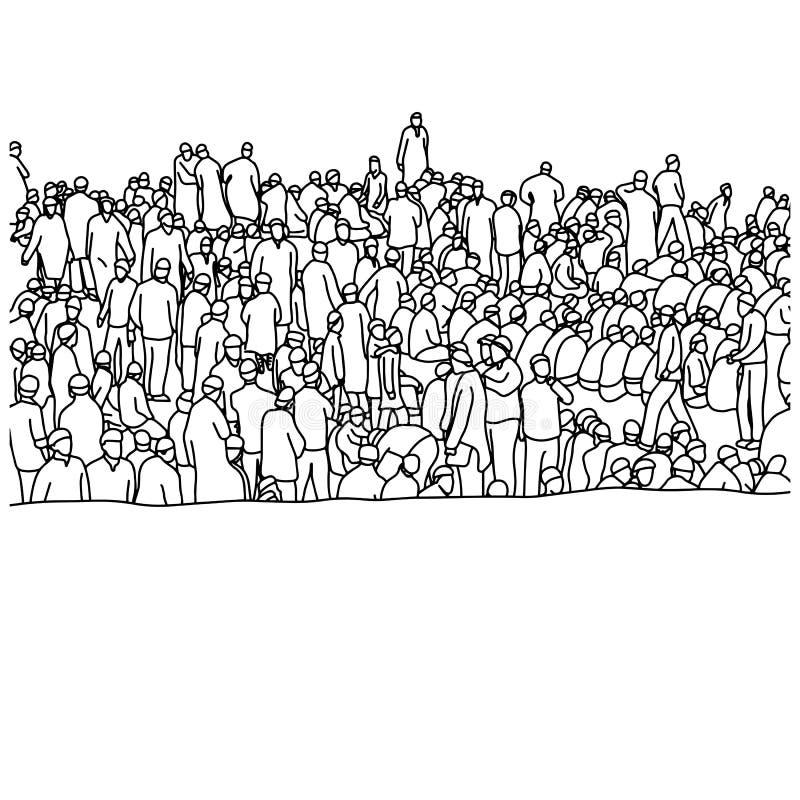 Les personnes musulmanes dans la foule dirigent l'esprit tiré par la main de croquis d'illustration illustration stock