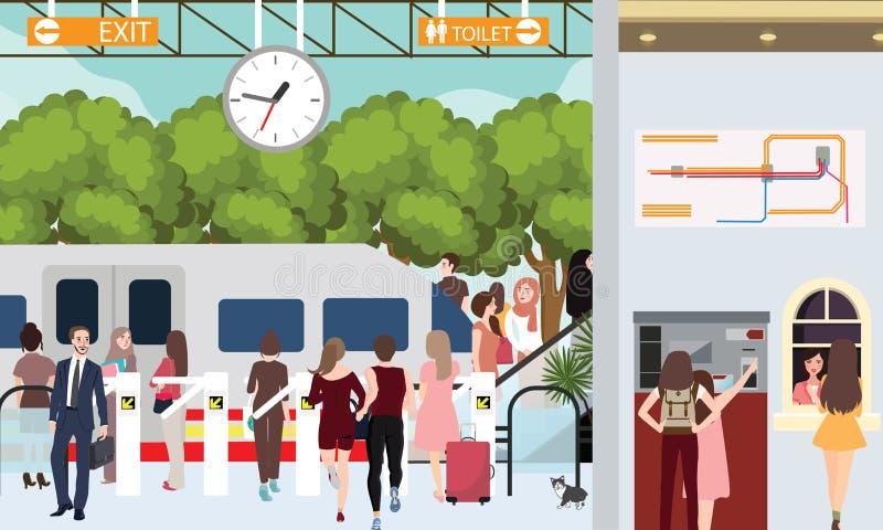 Les personnes occupées de scène de station de train dans la précipitation attendant dans le banlieusard urbain de porte achètent  illustration libre de droits