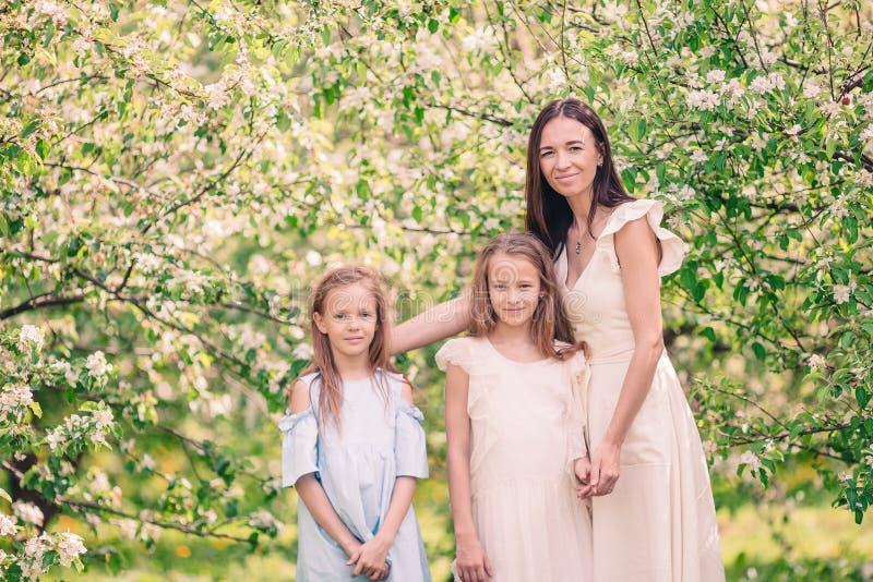 Les petites filles adorables avec la jeune m?re dans la cerise de floraison font du jardinage la belle journ?e de printemps photos stock
