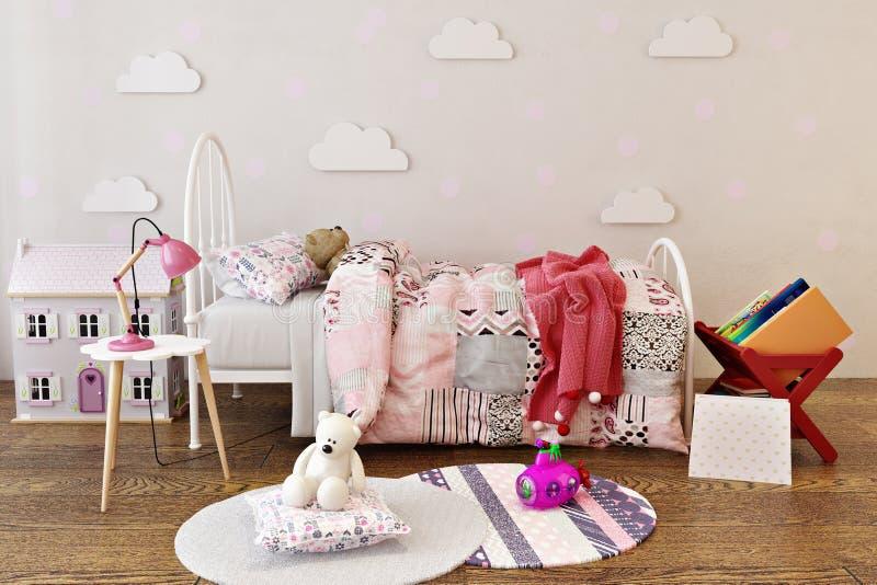 Les petites filles adorables enfoncent l'intérieur de pièce avec les jouets, la maison de poupée et les livres de lecture image stock