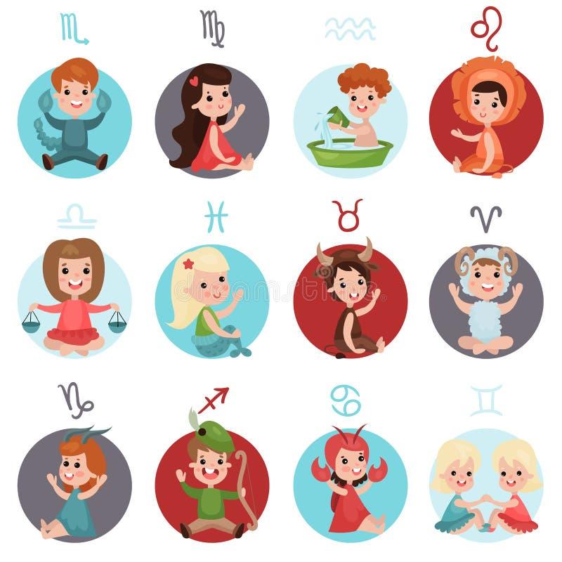Les petits enfants adorables utilisant des costumes de signes de zodiaque ont placé, douze illustrations mignonnes de bande dessi illustration libre de droits