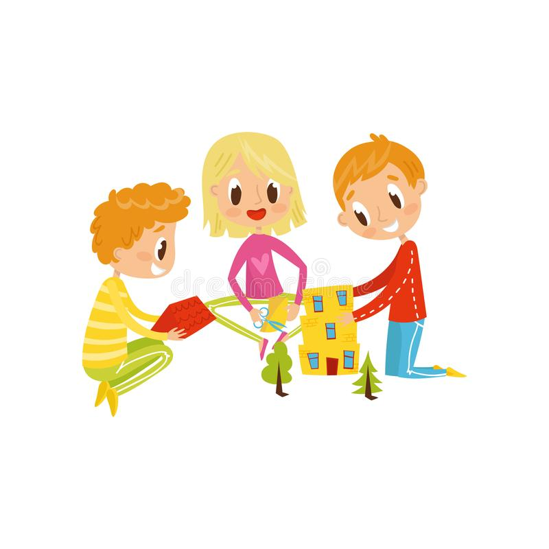 Les petits enfants mignons coupant des détails d'application, la créativité d'enfants, l'éducation et le concept de développement illustration stock