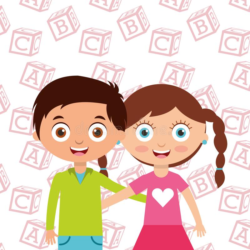 Les petits enfants mignons garçon et les amis d'étreinte de fille avec l'alphabet bloque le fond illustration de vecteur