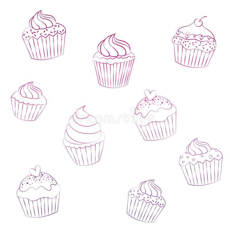 Les petits gâteaux décrivent, couleur en pastel Pains doux image libre de droits