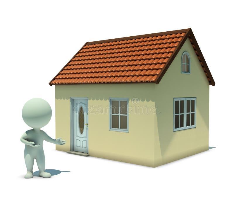 les petits gens 3d - affichez une maison illustration de vecteur
