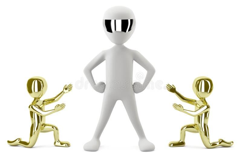 les petits gens de l'or 3D affichent son amorce. image 3D. illustration de vecteur
