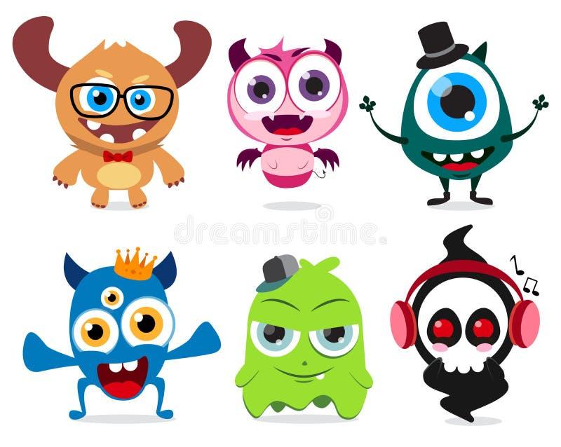 Les petits monstres mignons ont placé des caractères de vecteur Créatures mignonnes de monstre avec les visages drôles et fous illustration de vecteur