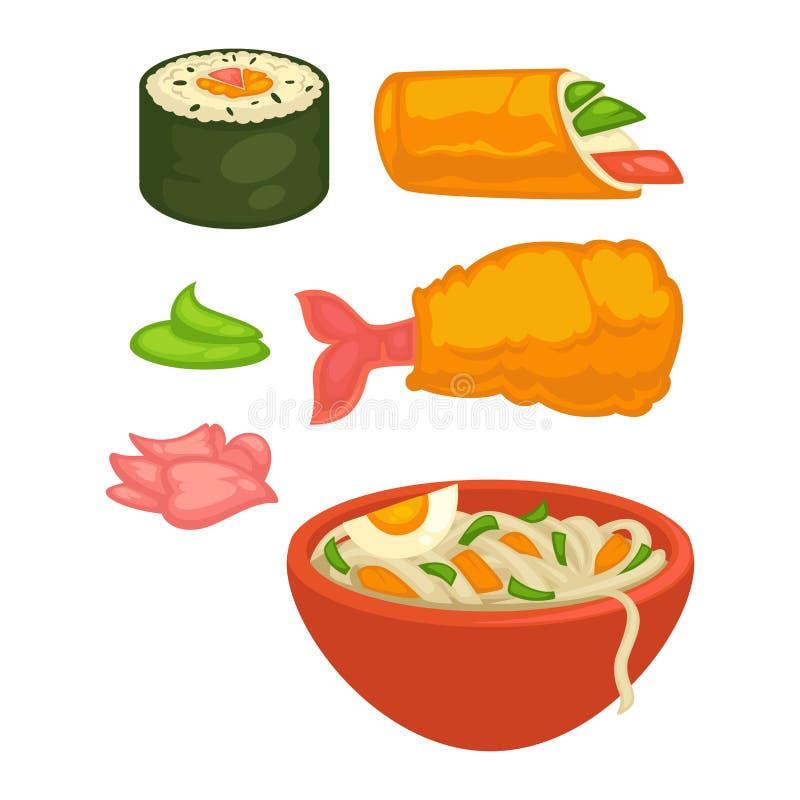Les petits pains de sushi et les casse-croûte japonais de nourriture de cuisine dirigent les icônes plates illustration stock