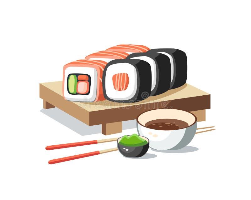 Les petits pains de sushi ont placé le mensonge sur le délicieux savoureux de planche avec le wasabi a illustration libre de droits