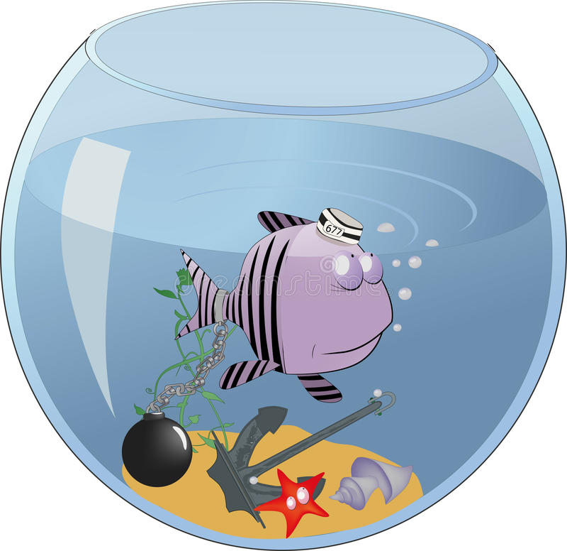 Les petits poissons ont conclu dans un aquarium illustration libre de droits