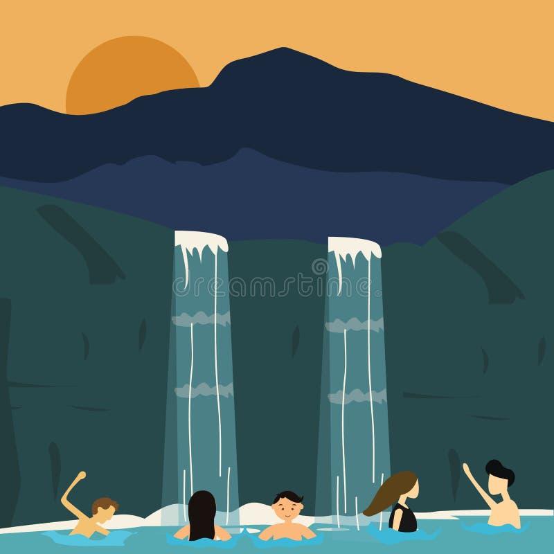 Les peuples nagent dans l'illustration de garçons et de filles de cascade illustration stock