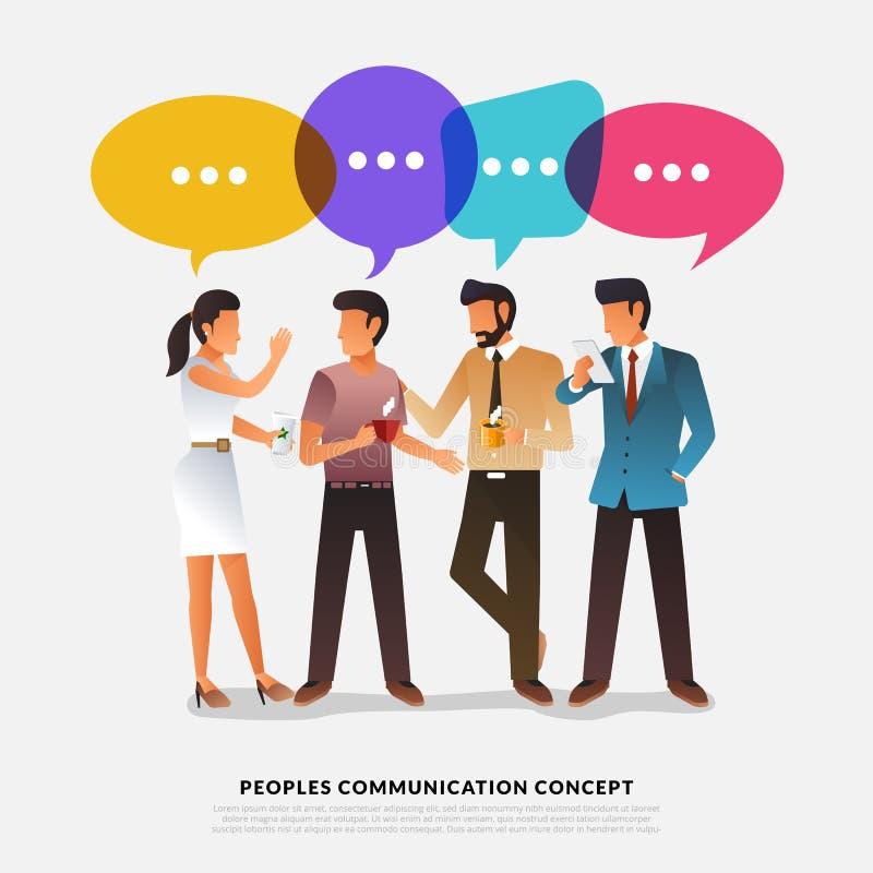 Les peuples plats de concept de construction parlent avec la bulle de message de ballon Le VE illustration libre de droits