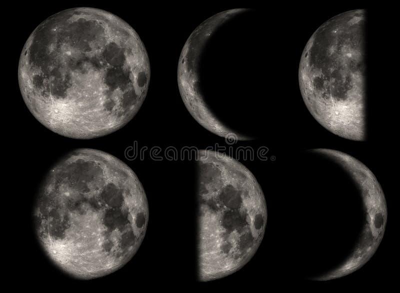 Les phases de la lune illustration de vecteur