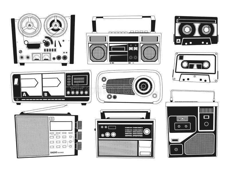 Les photos monochromes ont placé de divers enregistreurs d'audio de vintage illustration libre de droits