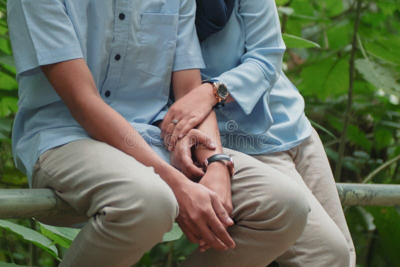 Les photos romantiques de épouser pré naturel tiennent ma main images libres de droits