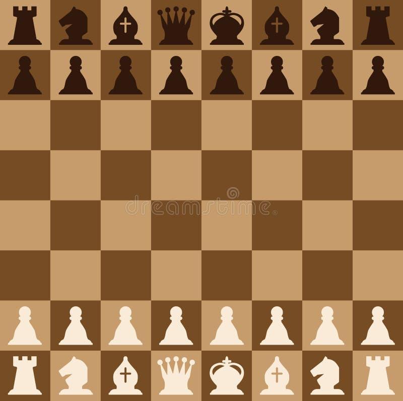 Les pièces d'échecs ont placé des icônes sur un échiquier brun Chiffres d'échecs illustration de vecteur